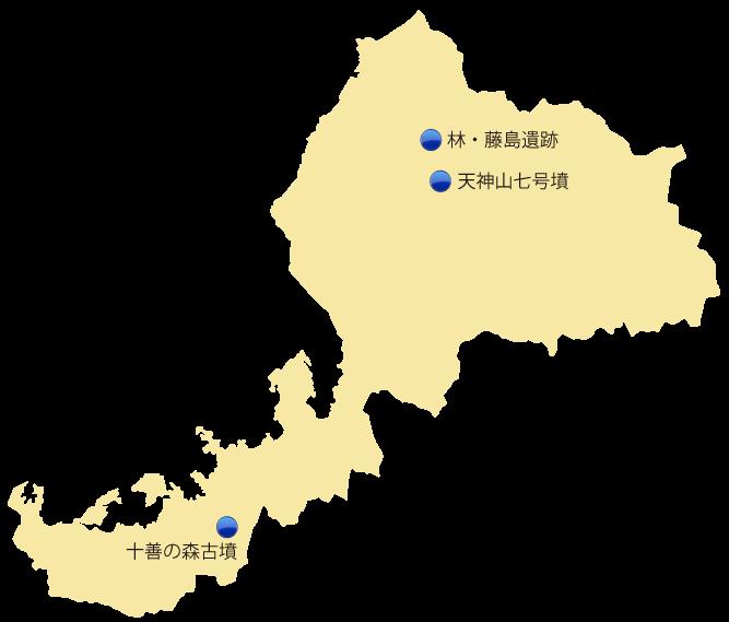 福井県の主な玉出土遺跡位置