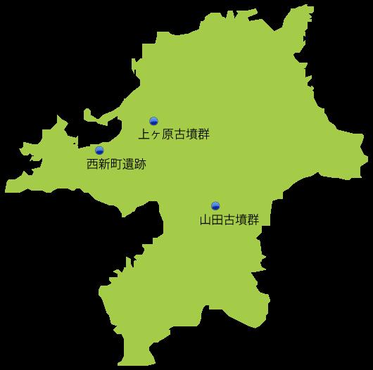 福岡県の主な玉出土遺跡位置