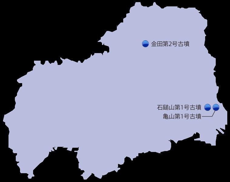 広島県の主な玉出土遺跡位置