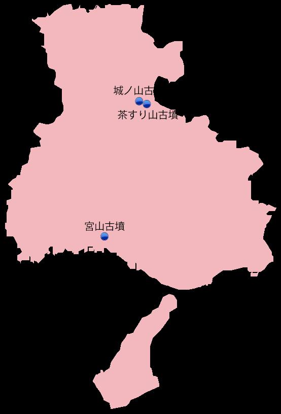 兵庫県の主な玉出土遺跡位置