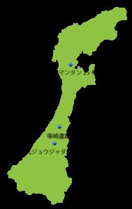 石川県の主な玉出土遺跡位置