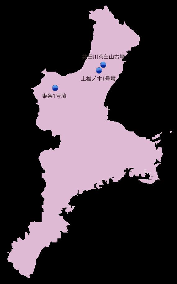 三重県の主な玉出土遺跡位置