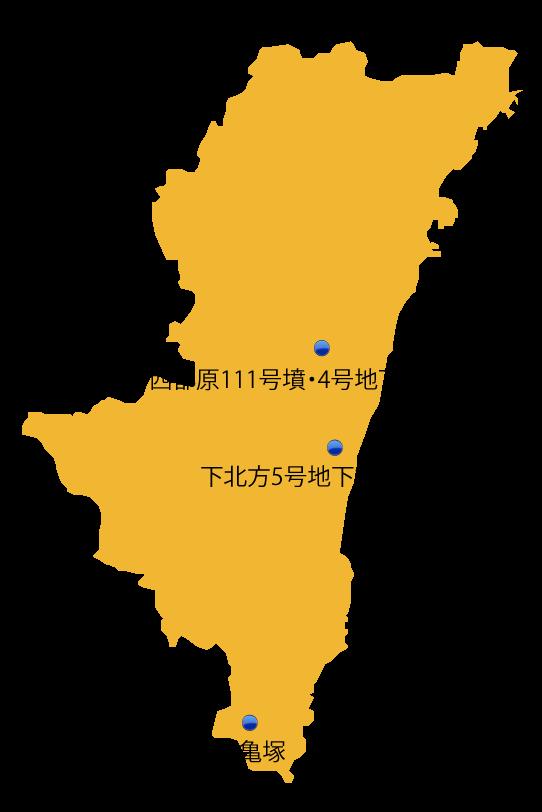 宮崎県の主な玉出土遺跡位置